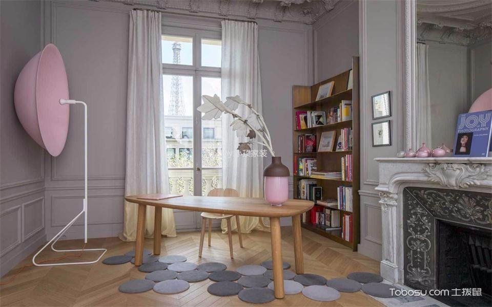 书房白色窗帘现代简约风格装饰效果图