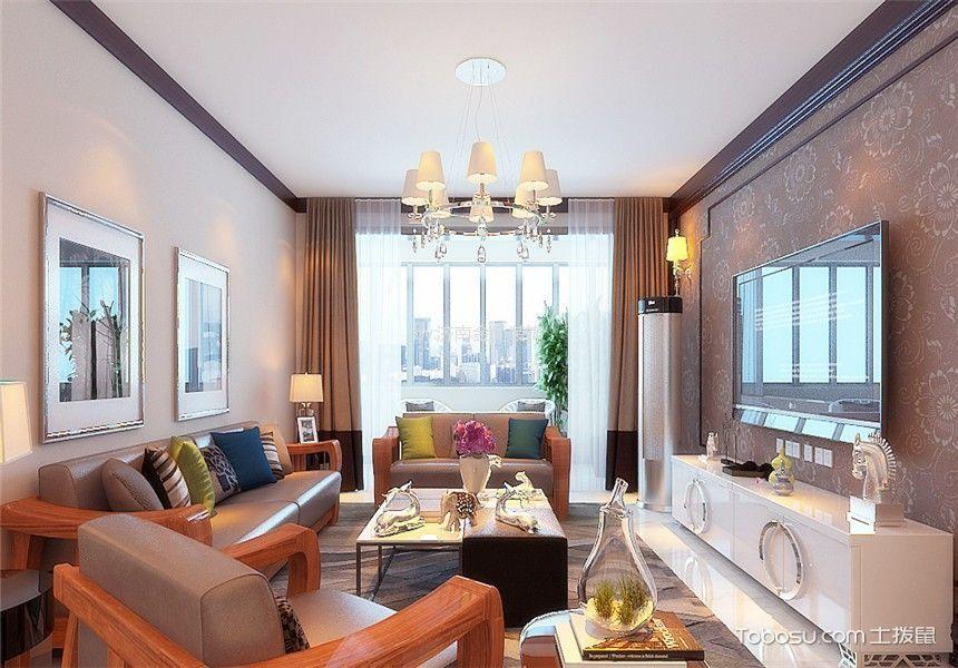客厅咖啡色窗帘新中式风格装饰设计图片