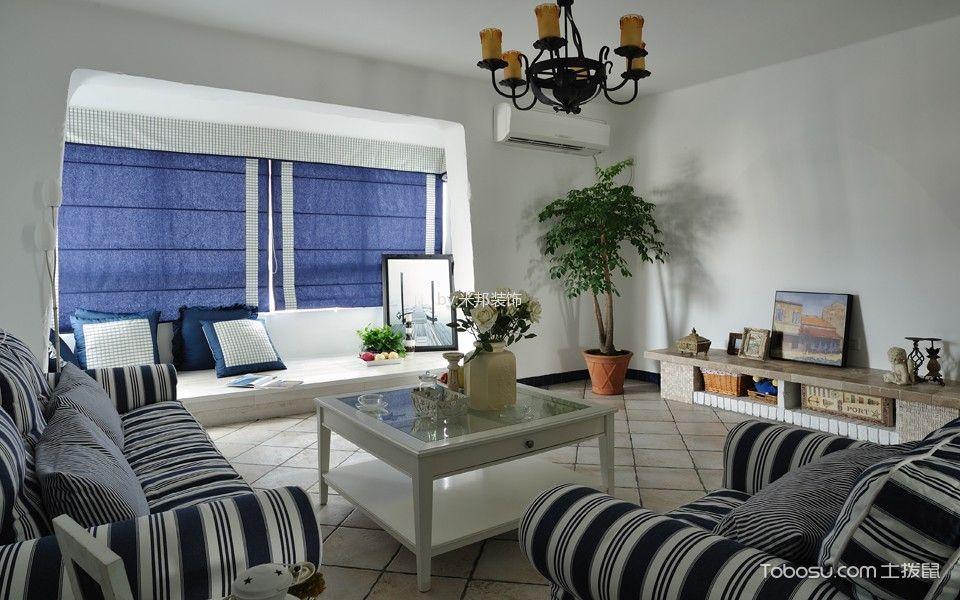 客厅蓝色窗帘地中海风格装潢设计图片