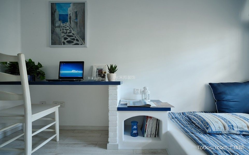 卧室蓝色书桌地中海风格装修效果图