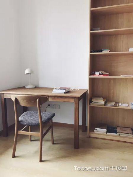 书房咖啡色书桌日式风格装潢效果图
