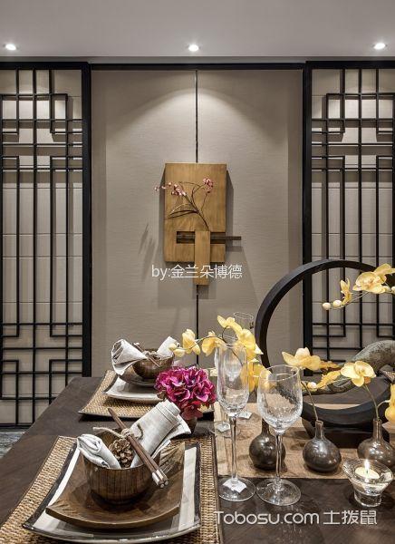 餐厅咖啡色细节新中式风格装饰图片