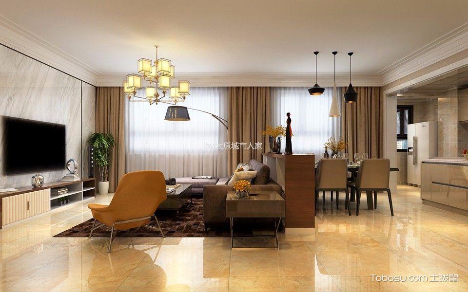 客厅黄色地砖现代简约风格装饰设计图片