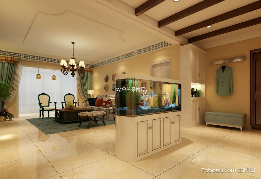 客厅绿色窗帘地中海风格装修设计图片