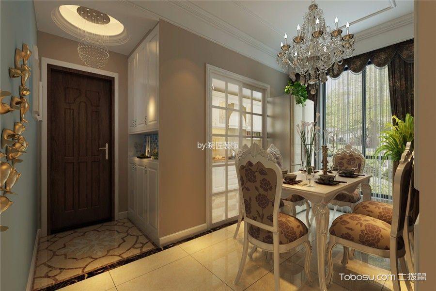餐厅白色推拉门简欧风格装饰图片