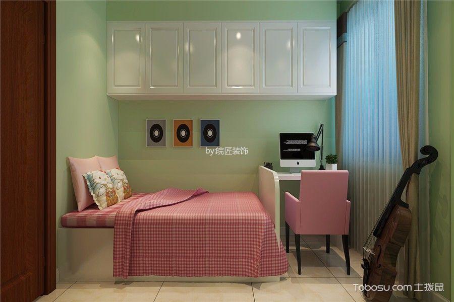 儿童房绿色背景墙现代简约风格装饰效果图