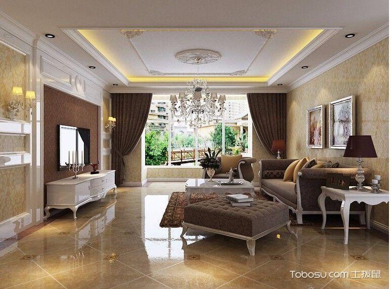客厅黄色地砖现代简约风格装修效果图