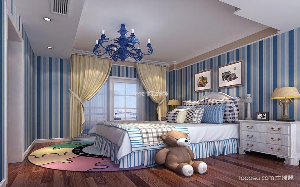 儿童房蓝色背景墙简欧风格装修图片