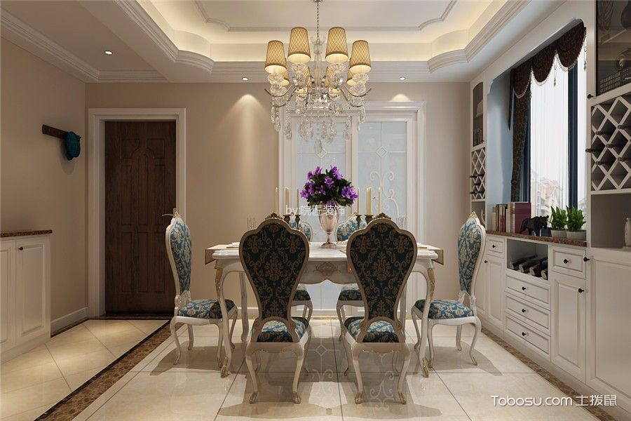 餐厅白色推拉门欧式风格装修设计图片