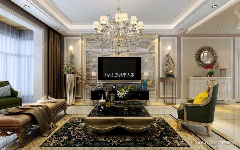 客厅米色背景墙简欧风格装潢图片