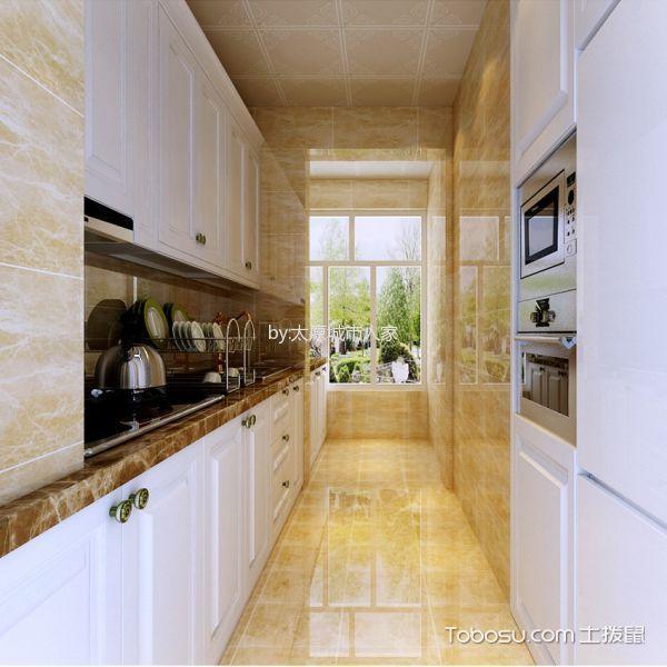 厨房黄色背景墙简欧风格装修效果图