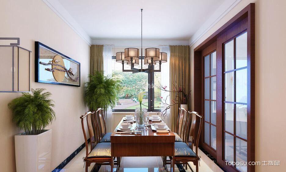 餐厅咖啡色窗帘新中式风格装修设计图片
