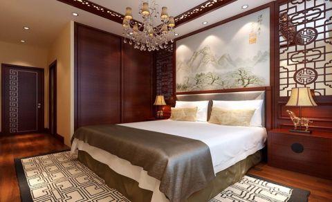 卧室背景墙中式风格装修设计图片