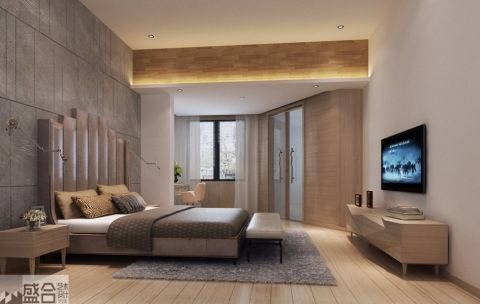 卧室灰色背景墙现代风格装修设计图片