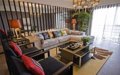 客厅黄色吊顶混搭风格装饰设计图片