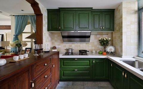 厨房绿色橱柜混搭风格效果图