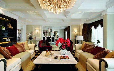 客厅黄色吊顶新古典风格装饰效果图