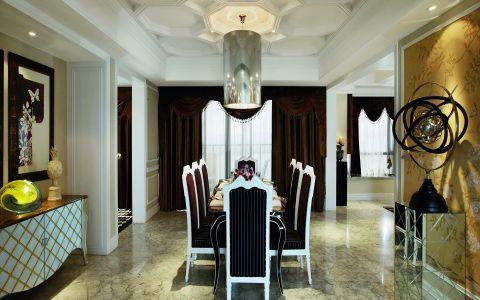 餐厅咖啡色窗帘新古典风格装潢效果图