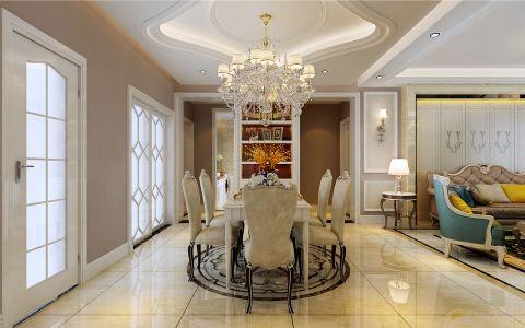 餐厅白色吊顶简欧风格装饰设计图片