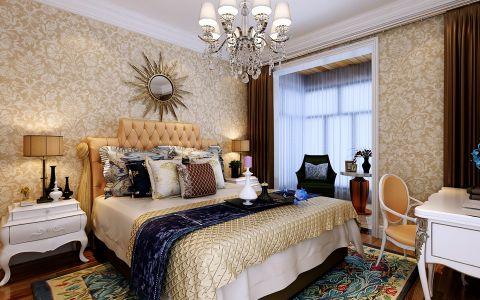 卧室彩色背景墙简欧风格装修图片