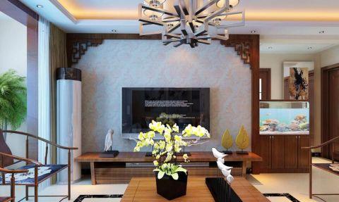 客厅黑色背景墙新中式风格装潢图片