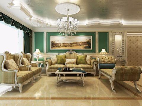 客厅背景墙法式风格效果图