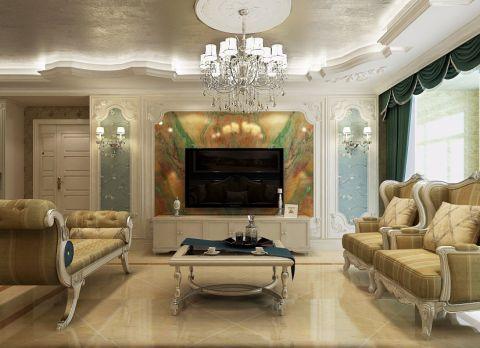 客厅背景墙法式风格装修效果图