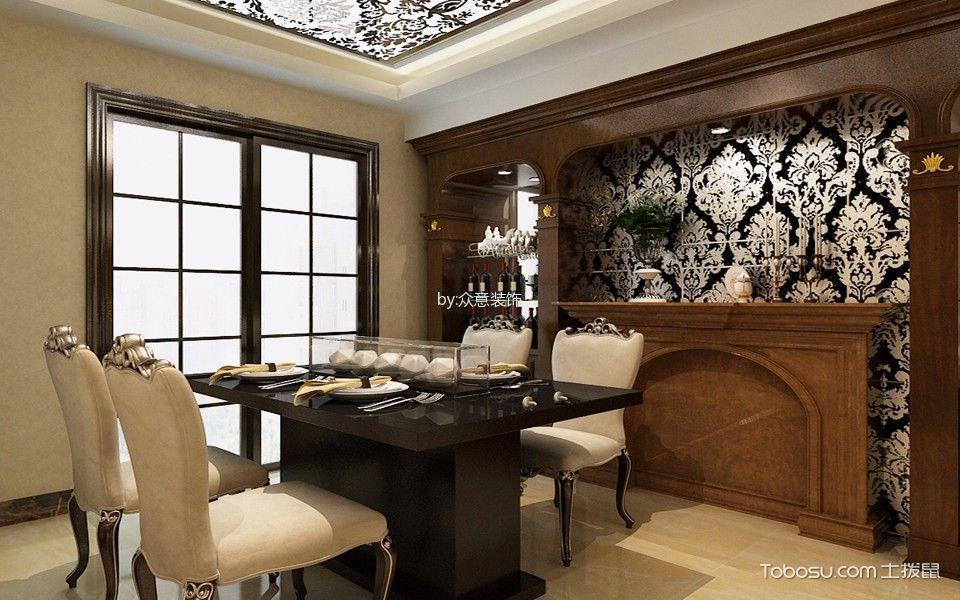 餐厅黑色推拉门欧式风格装饰设计图片