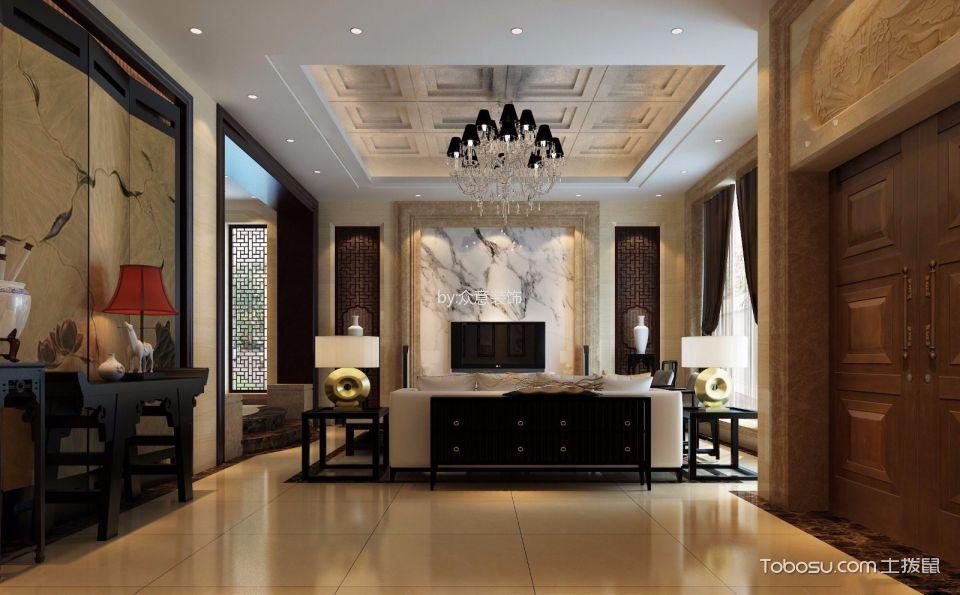 客厅米色地砖新中式风格效果图