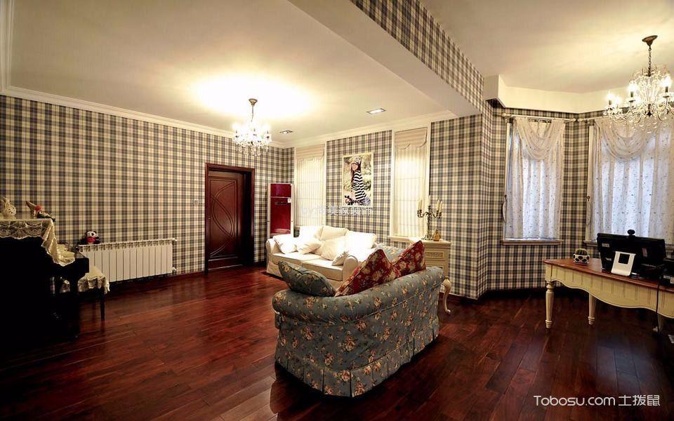 书房绿色沙发美式风格装潢设计图片