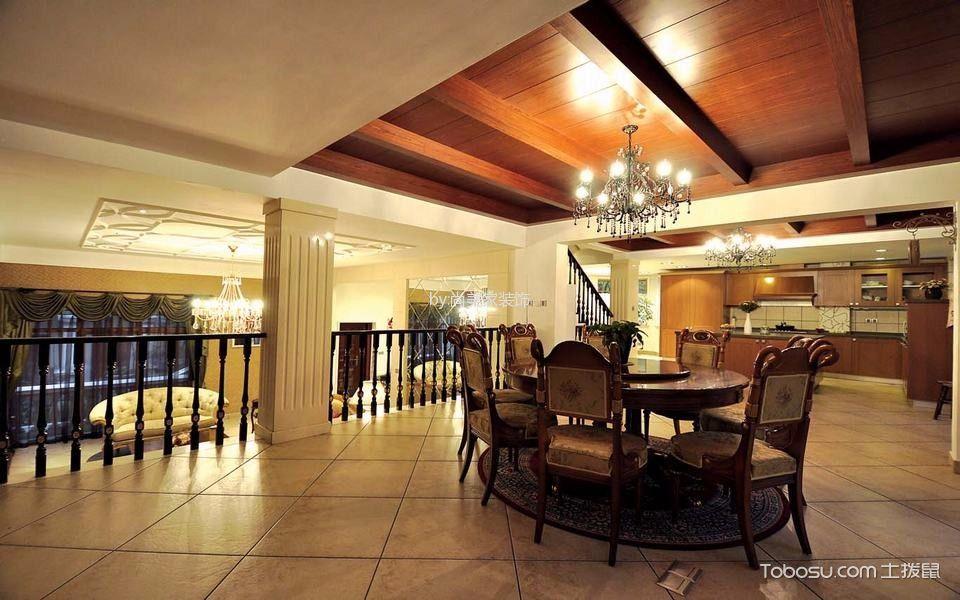 餐厅米色地砖美式风格装饰图片