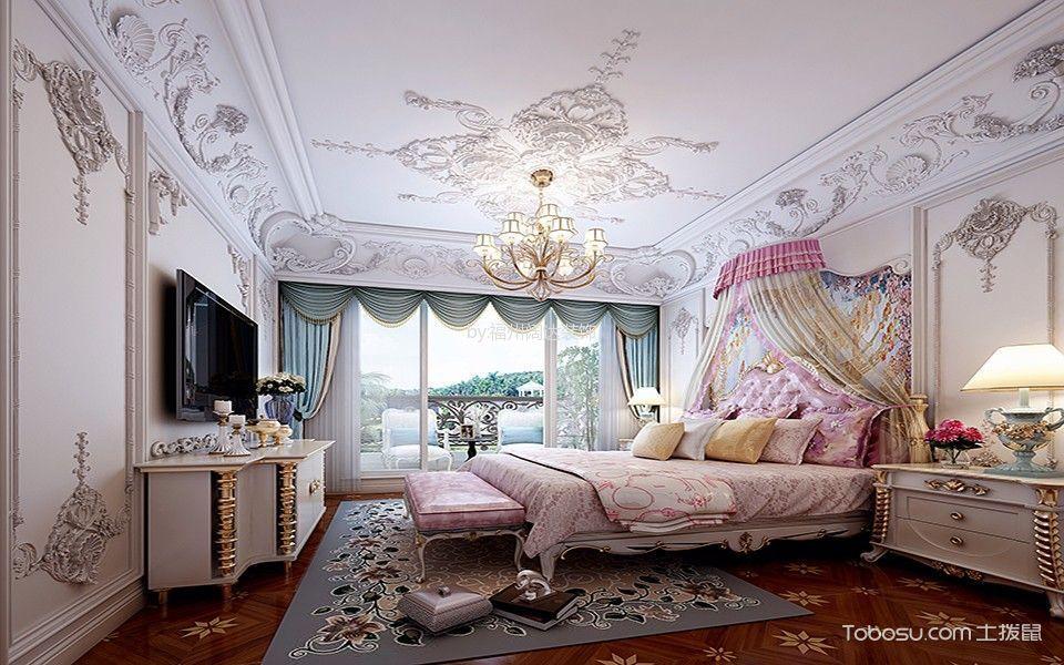 卧室粉色床法式风格装修图片