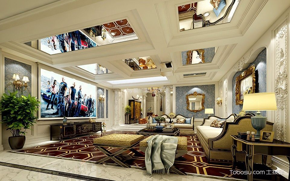 客厅咖啡色电视柜法式风格装饰效果图