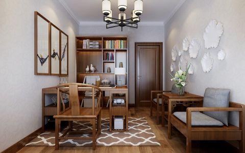 书房背景墙新中式风格效果图
