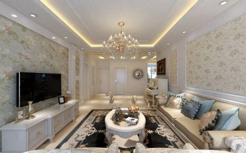 客厅背景墙欧式风格装潢设计图片