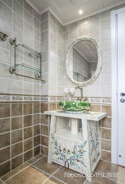 卫生间灰色背景墙简欧风格装潢图片