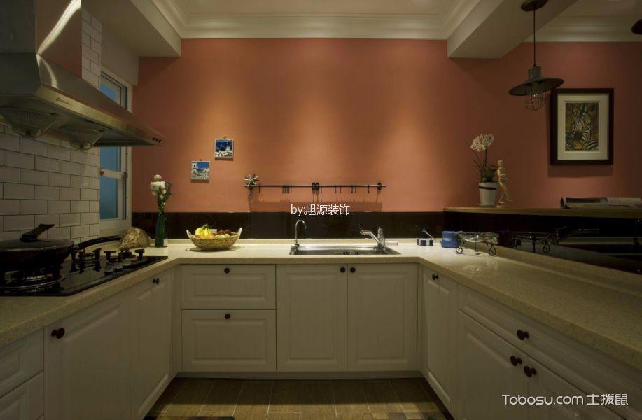 厨房橙色背景墙美式风格装饰设计图片