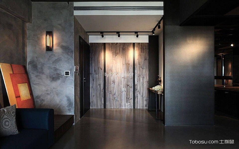 玄关灰色门厅混搭风格装修图片