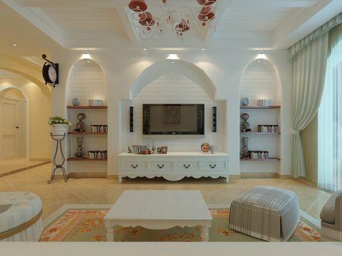 客厅窗帘欧式田园风格装修设计图片