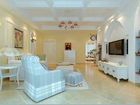 客厅吊顶欧式田园风格装饰设计图片