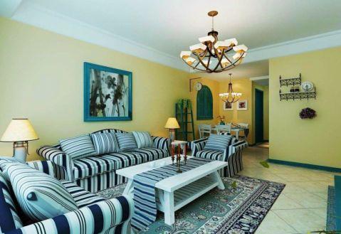 客厅背景墙地中海风格装修设计图片