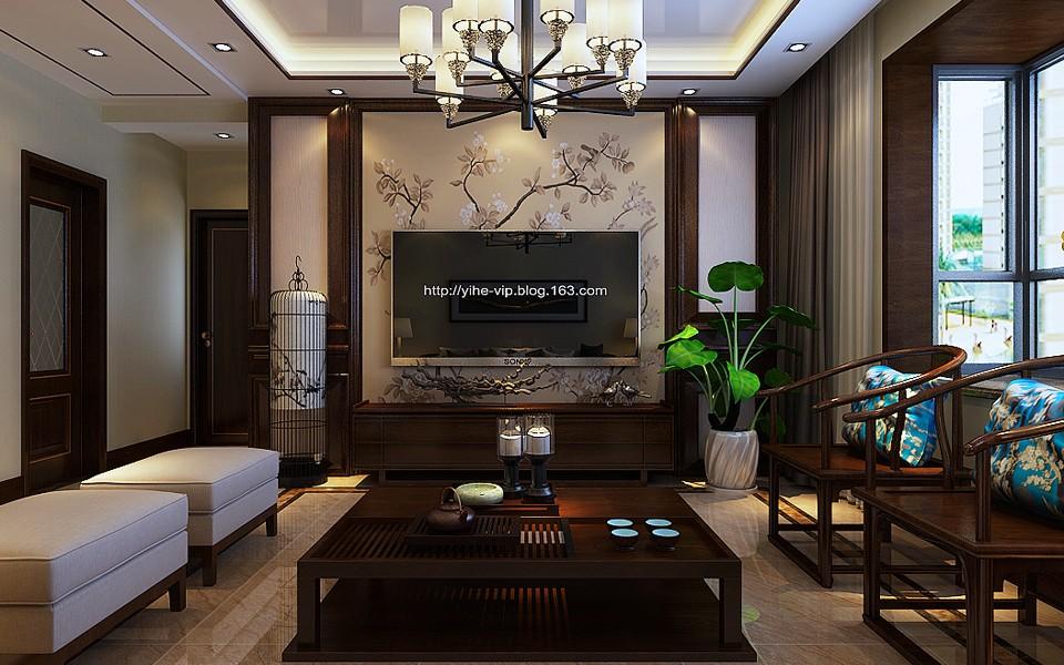 3室1卫2厅124平米现代中式风格