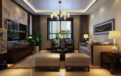 客厅窗帘现代中式风格装潢设计图片