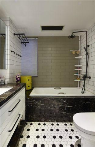浴室背景墙现代简约风格装潢图片