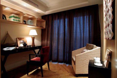 书房窗帘东南亚风格装潢设计图片