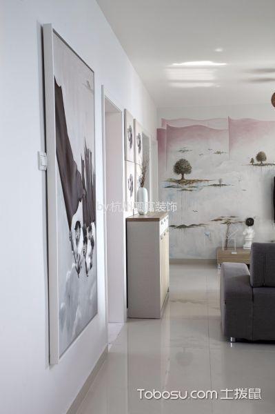 客厅白色地砖现代简约风格装修设计图片