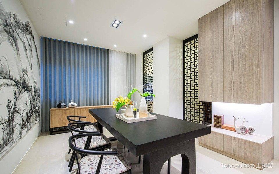 餐厅黑色隔断新中式风格装饰效果图