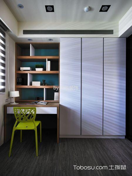 书房绿色背景墙简约风格效果图