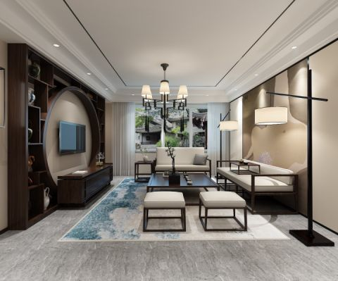 10万预算120平米两室两厅装修效果图