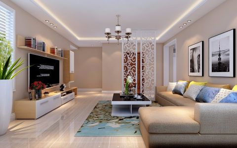 6.5万预算157平米三室两厅装修效果图